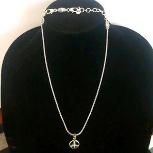 BRIGHTON Retired Silver Peace Charm Necklace